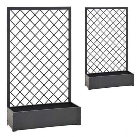 Verdemax 2 Fioriere in Metallo da Giardino Steel Jasmine Antracite Ciascuna Dimensioni cm 90x32xh150