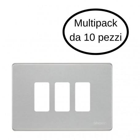 Placca 3 Posti Bticino Serie Magic In Alluminio Oxidal In Confezione Da 10 Placche