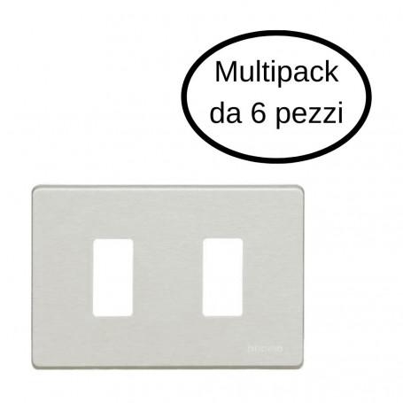 Placca 2 Posti Bticino Serie Magic In Alluminio Oxidal In Confezione Da 6 Placche