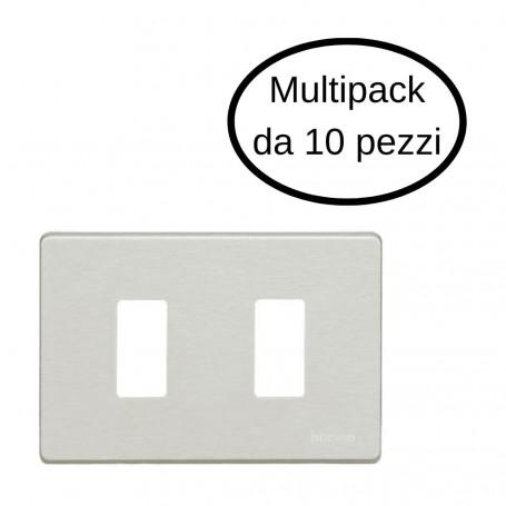Placca 2 Posti Bticino Serie Magic In Alluminio Oxidal In Confezione Da 10 Placche
