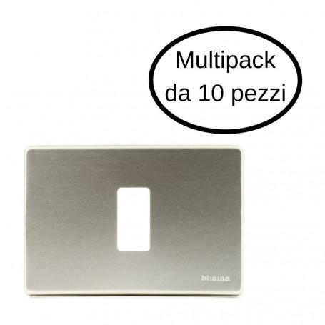 Placca 1 Posto Bticino Serie Magic In Alluminio Oxidal In Cofezione Da 10 Placche