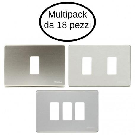 Placca 1 Posto Placca 2 Posti Placca 3 Posti Bticino Serie Magic Alluminio Oxidal Cofezione Da 18 Placche