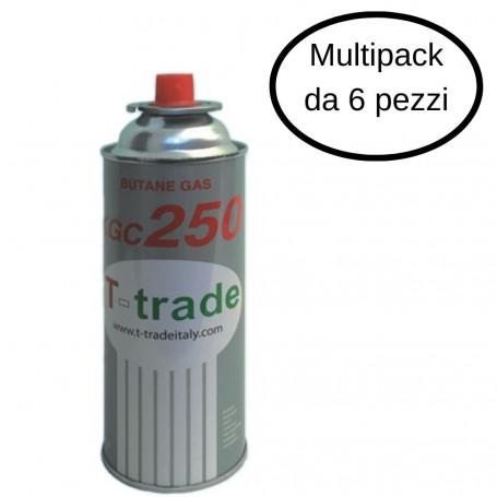 T-Trade Bomboletta Gas Butano Multipack Da 6 Bombolette Da 250 Grammi Ciascuna