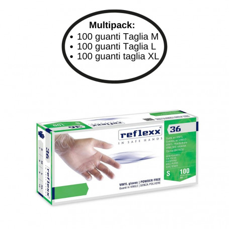 Reflexx 36 Guanti In Vinile Senza Polvere Multipack da 3 Confezioni Taglie Miste