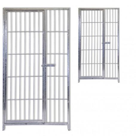 2 Pannelli con Porta in Acciaio Zincato a Caldo per Recinti per Cani Ciascuno da 100 Cm x Altezza 180 Cm