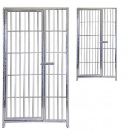 2 Pannelli con Porta in Acciaio Zincato Elettrolitica per Recinti per Cani Ciascuno da 100 Cm x Altezza 180 Cm