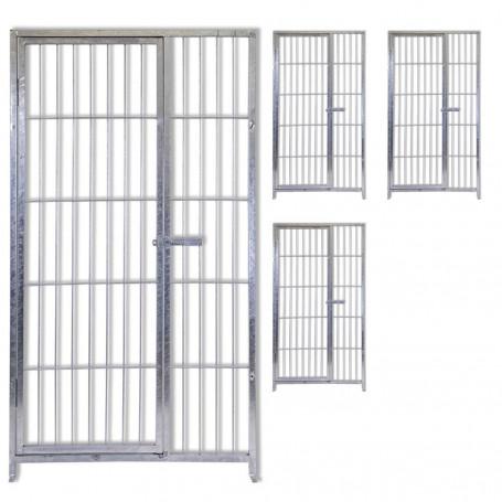 4 Pannelli con Porta in Acciaio Zincatura a Caldo per Recinti per Cani Ciascuno da 100 Cm x Altezza 180 Cm