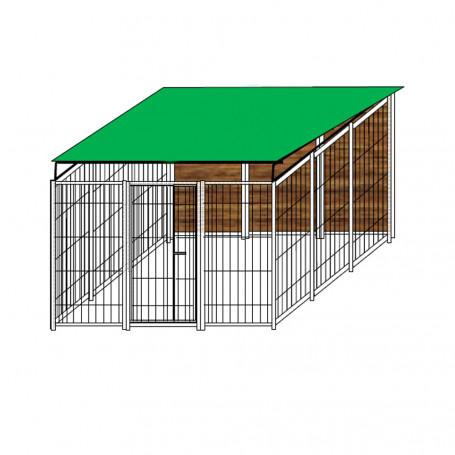 Box per Cani Singolo Coperto in Legno Zincatura a Caldo Dimensioni 300 x 300 x h 180 Cm
