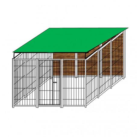 Box per Cani Singolo Coperto in Legno Zincatura Elettrolitica Dimensioni 300 x 300 x h 180 Cm
