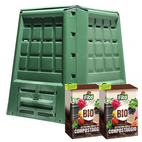 Compostiera Per Giardino Verde Ecobox Fast Da 380 Litri Con 4 Kg di Attivatore Compostaggio