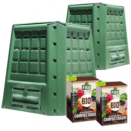 2 Compostiere Per Giardino Verde Ecobox Fast Da 380 Litri Con 4 Kg di Attivatore Compostaggio